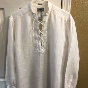 Mens Claiborne Luxe 100%Linen Off White Luxe shirt